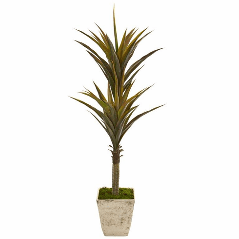 """63"""" Yucca Artificial Tree in Country White Planter"""