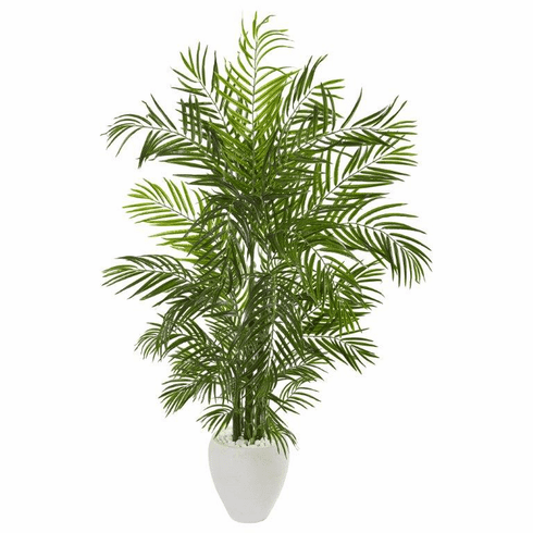 "64"" Areca Palm Artificial Tree in White Planter UV Resistant (Indoor/Outdoor)"