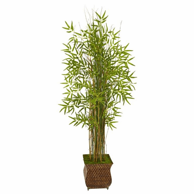 64� Bamboo Grass Artificial Plant in Metal Planter -