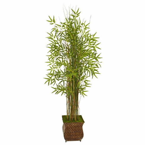 """64"""" Bamboo Grass Artificial Plant in Metal Planter -"""