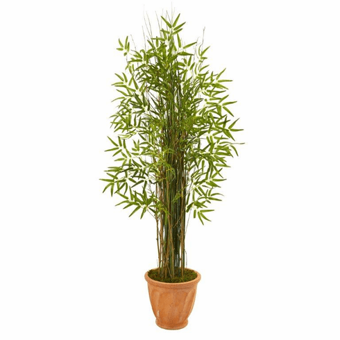 "64"" Bamboo Grass Artificial Plant in Terra-Cotta Planter -"