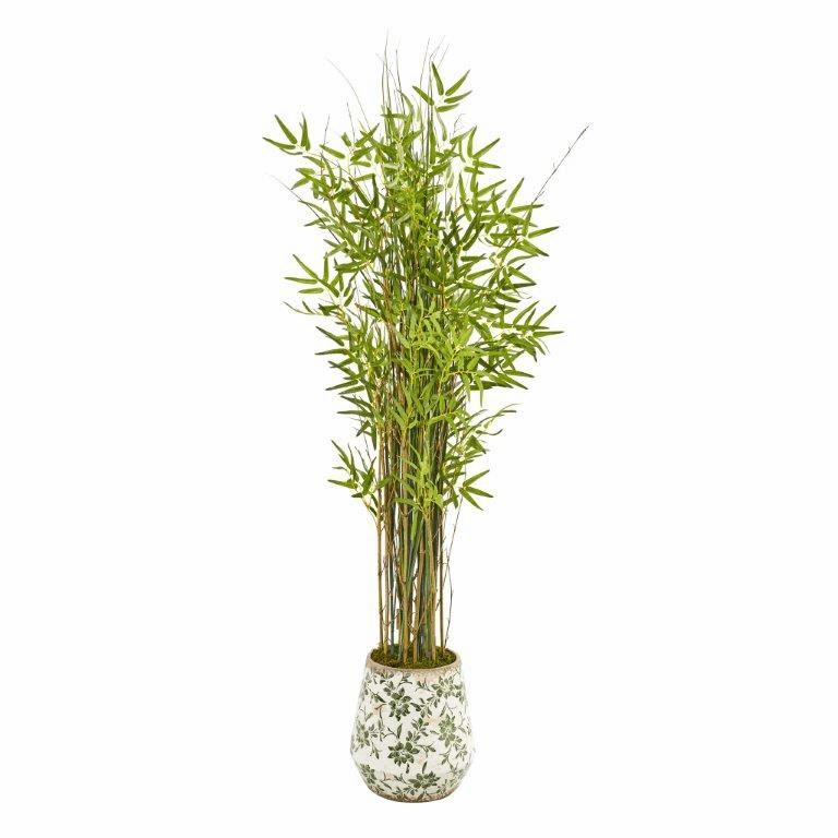 64� Grass Artificial Bamboo Plant in Floral Print Planter -