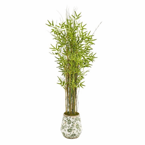 "64"" Grass Artificial Bamboo Plant in Floral Print Planter -"