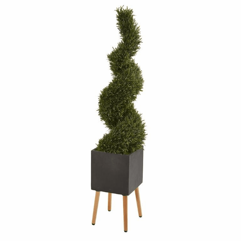 64� Rosemary Spiral Topiary Artificial Tree in Black Planter with Stand (Indoor/Outdoor) -