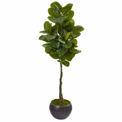 "64"" Rubber Leaf Artificial Tree in Metal Planter (Real Touch)"