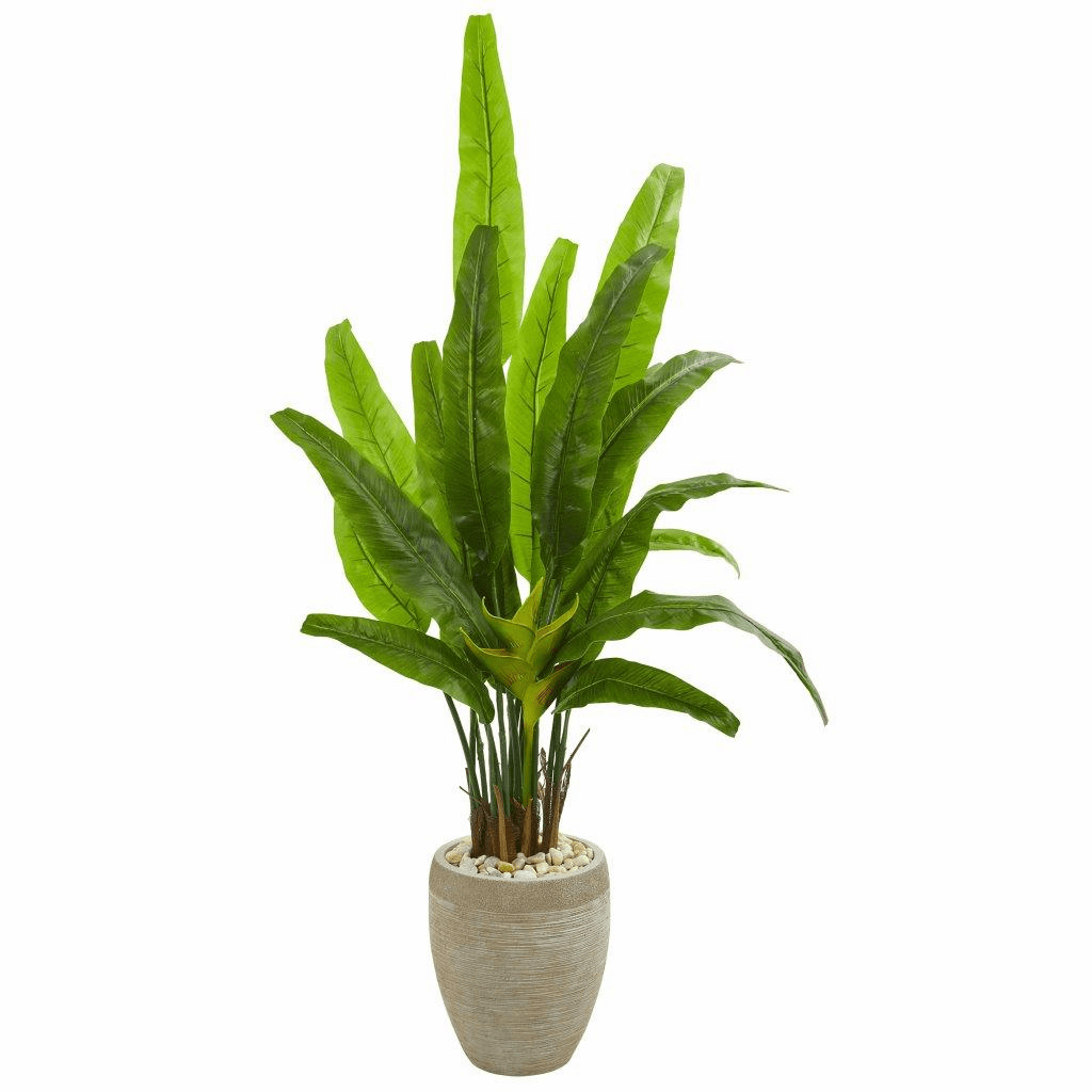 64� Travelers Palm Artificial Tree in Sand Colored Planter