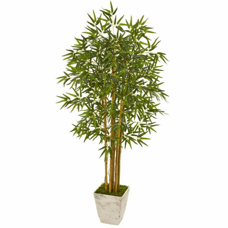 65� Bamboo Artificial Tree in Country White Planter -
