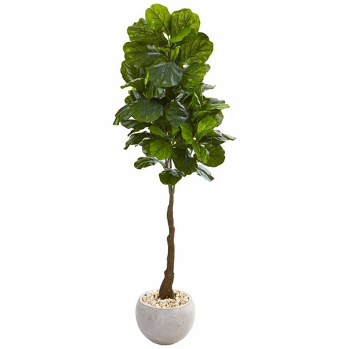 """65"""" Fiddle Leaf Artificial Tree in Sand Colored Planter (Real Touch) -"""