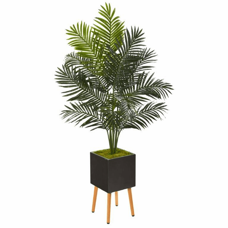65� Paradise Palm Artificial Tree in Black Planter with Stand -