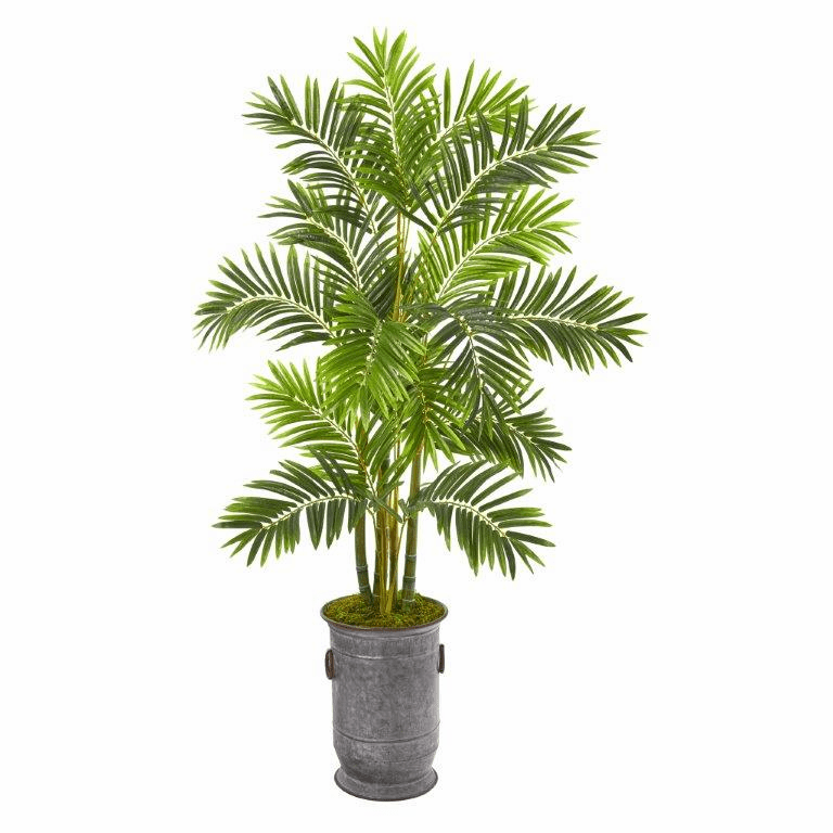 66� Areca Palm Artificial Tree in Metal Planter -