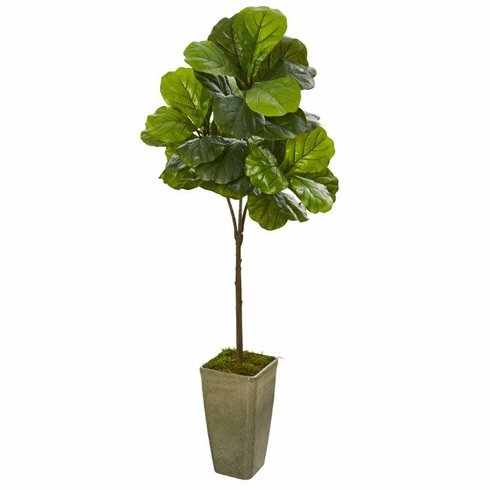 "66"" Fiddle Leaf Artificial Tree in Green Planter (Real Touch) -"