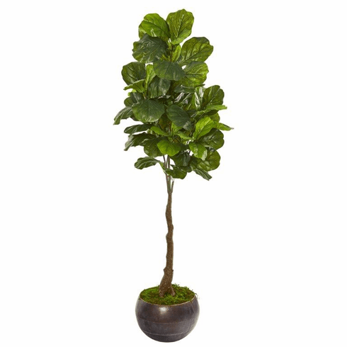"""66"""" Fiddle Leaf Artificial Tree in Metal Bowl (Real Touch) -"""