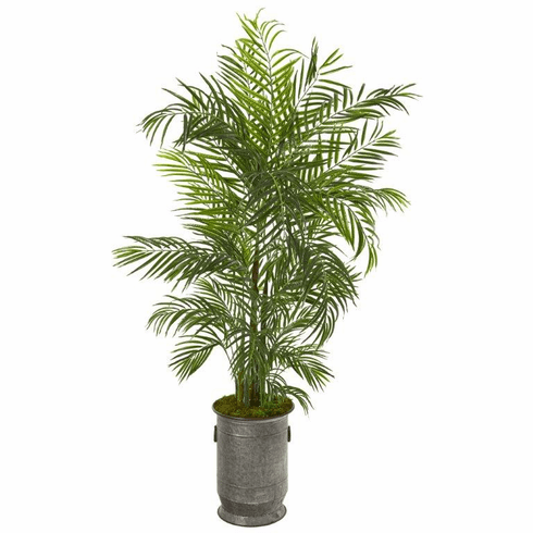 "67"" Areca Palm Artificial Tree in Vintage Metal Planter UV Resistant (Indoor/Outdoor)"