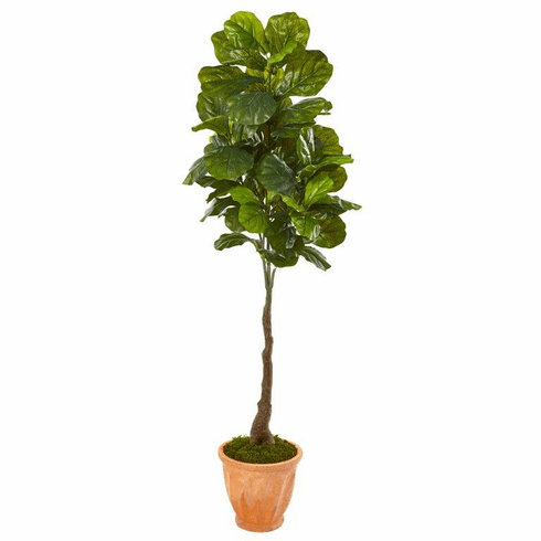 """67"""" Fiddle Leaf Artificial Tree in Terra-Cotta Planter (Real Touch) -"""