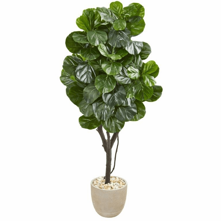 67� Fiddle Leaf Fig Artificial Tree in Sand Stone Planter