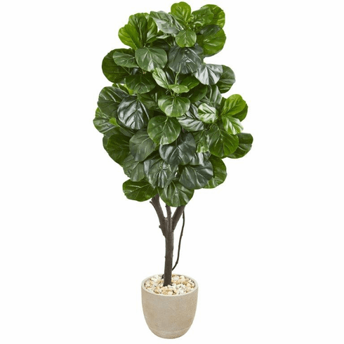 "67"" Fiddle Leaf Fig Artificial Tree in Sand Stone Planter"