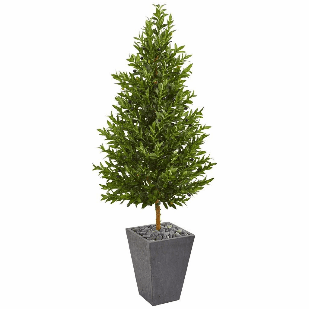 67� Olive Cone Topiary Artificial Tree in Slate Planter UV Resistant (Indoor/Outdoor)