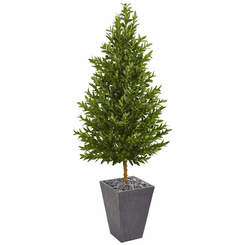 "67"" Olive Cone Topiary Artificial Tree in Slate Planter UV Resistant (Indoor/Outdoor)"