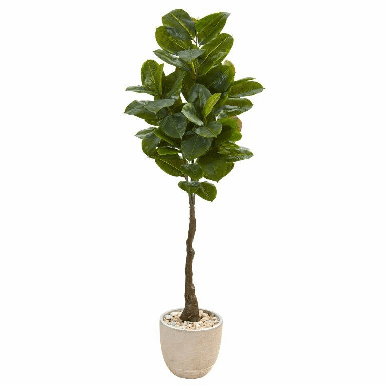 67� Rubber Leaf Artificial Tree in Sandstone Planter (Real Touch)