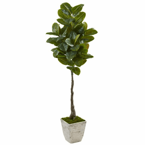 "67"" Rubber Leaf Artificial Tree in White Planter (Real Touch)"