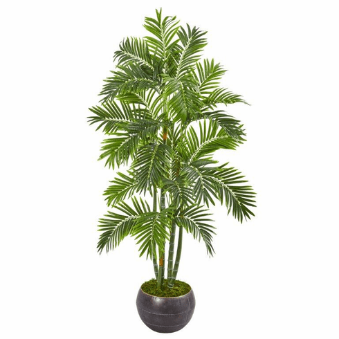 "68"" Areca Palm Artificial Tree in Metal Bowl -"