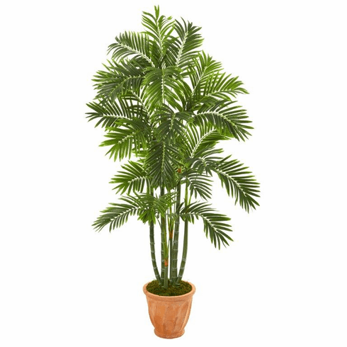 "68"" Areca Palm Artificial Tree in Orange Planter -"
