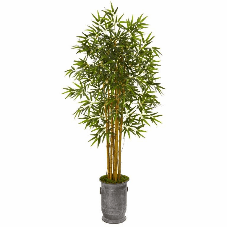 68� Bamboo Artificial Tree in Vintage Metal Planter -