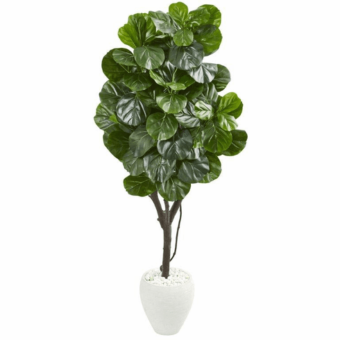 "68"" Fiddle Leaf Fig Artificial Tree in White Planter"
