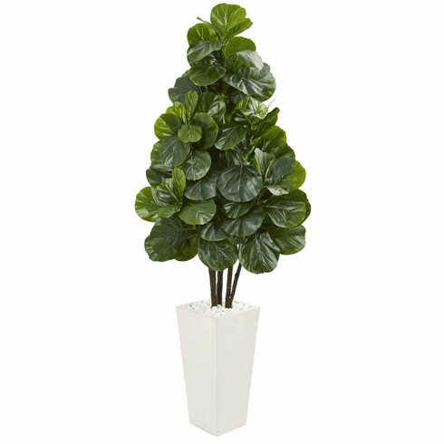 "68"" Fiddle Leaf Fig Artificial Tree in White Tower Planter"