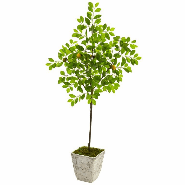 68� Lemon Artificial Tree in Country White Planter -