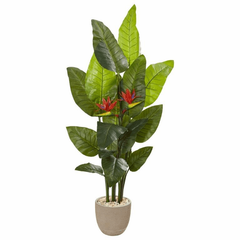 """69"""" Bird of Paradise Artificial Plant in Sandstone Planter (Real Touch)"""