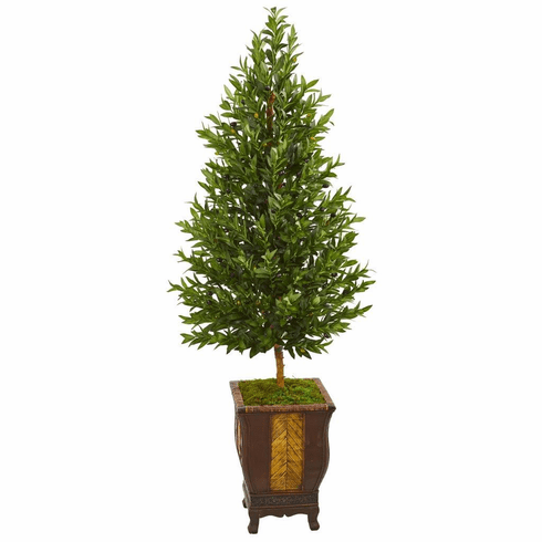 "69"" Olive Cone Topiary Artificial Tree in Decorative Planter"