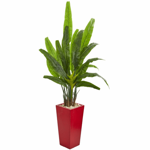 "69"" Travelers Palm Artificial Tree in Red Planter"