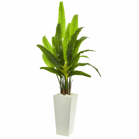 "69"" Travelers Palm Artificial Tree in White Tower Planter"
