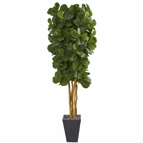 7.5' Fiddle Leaf Artificial Tree in Slate Planter