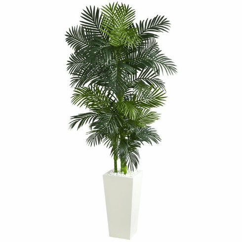 7.5' Golden Cane Palm Artificial Tree in White Tower Planter