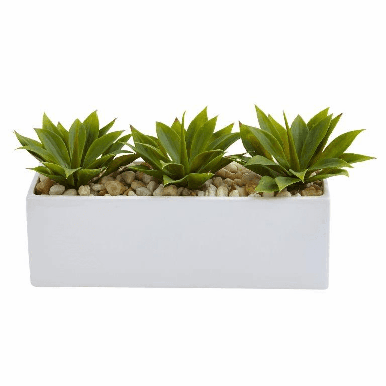 "7"" Artificial Agave Succulent in Rectangular Planter Arrangement"