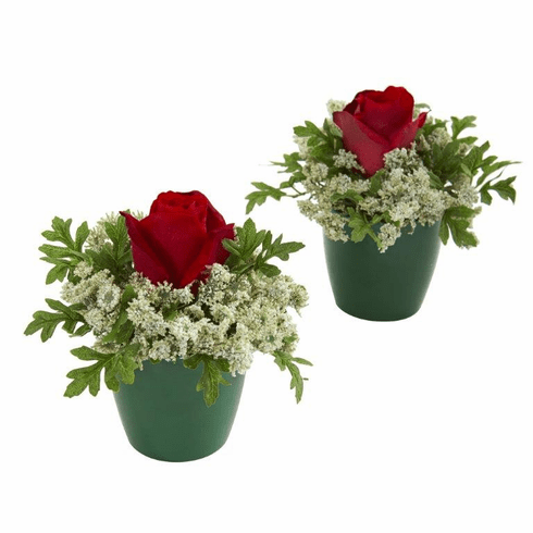 "7"" Elegant Rose Artificial Arrangement in Green Planter (Set of 2)"