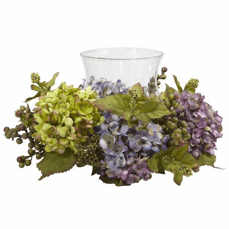 "7"" Mixed Hydrangea Candelabrum Silk Arrangement"