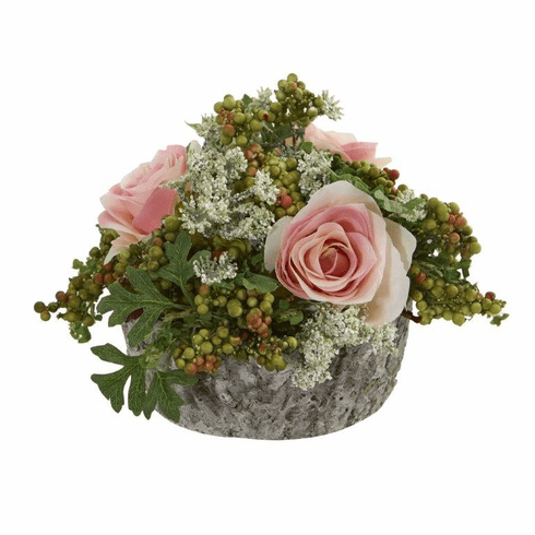 "7"" Roses Bouquet Artificial Arrangement in Oak Vase - Light Pink"