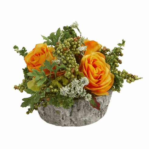 "7"" Roses Bouquet Artificial Arrangement in Oak Vase - Orange Yellow"