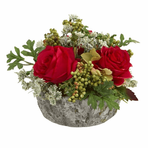 "7"" Roses Bouquet Artificial Arrangement in Oak Vase - Red"