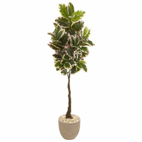 """70"""" Variegated Rubber Leaf Artificial Tree in Sandstone Planter (Real Touch) -"""