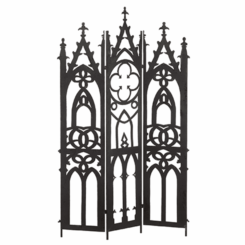 "71"" Tall Tri-Fold Gothic Metal Screen"