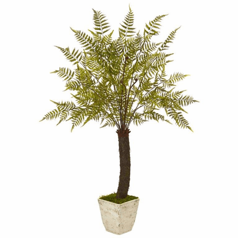 "74"" Fern Artificial Plant in White Planter"