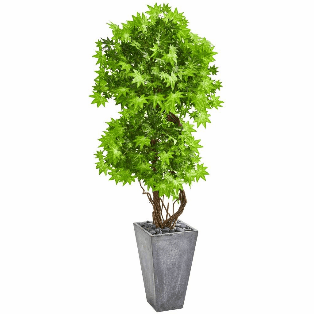 74� Maple Artificial Tree in Cement Planter