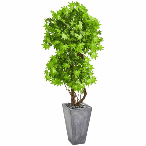 "74"" Maple Artificial Tree in Cement Planter"