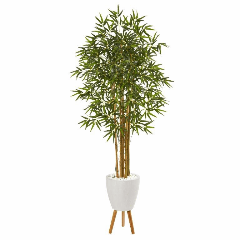 74� Multi Bambusa Bamboo Artificial Tree in White Planter with Stand -