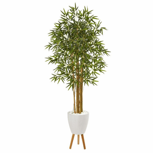 "74"" Multi Bambusa Bamboo Artificial Tree in White Planter with Stand -"