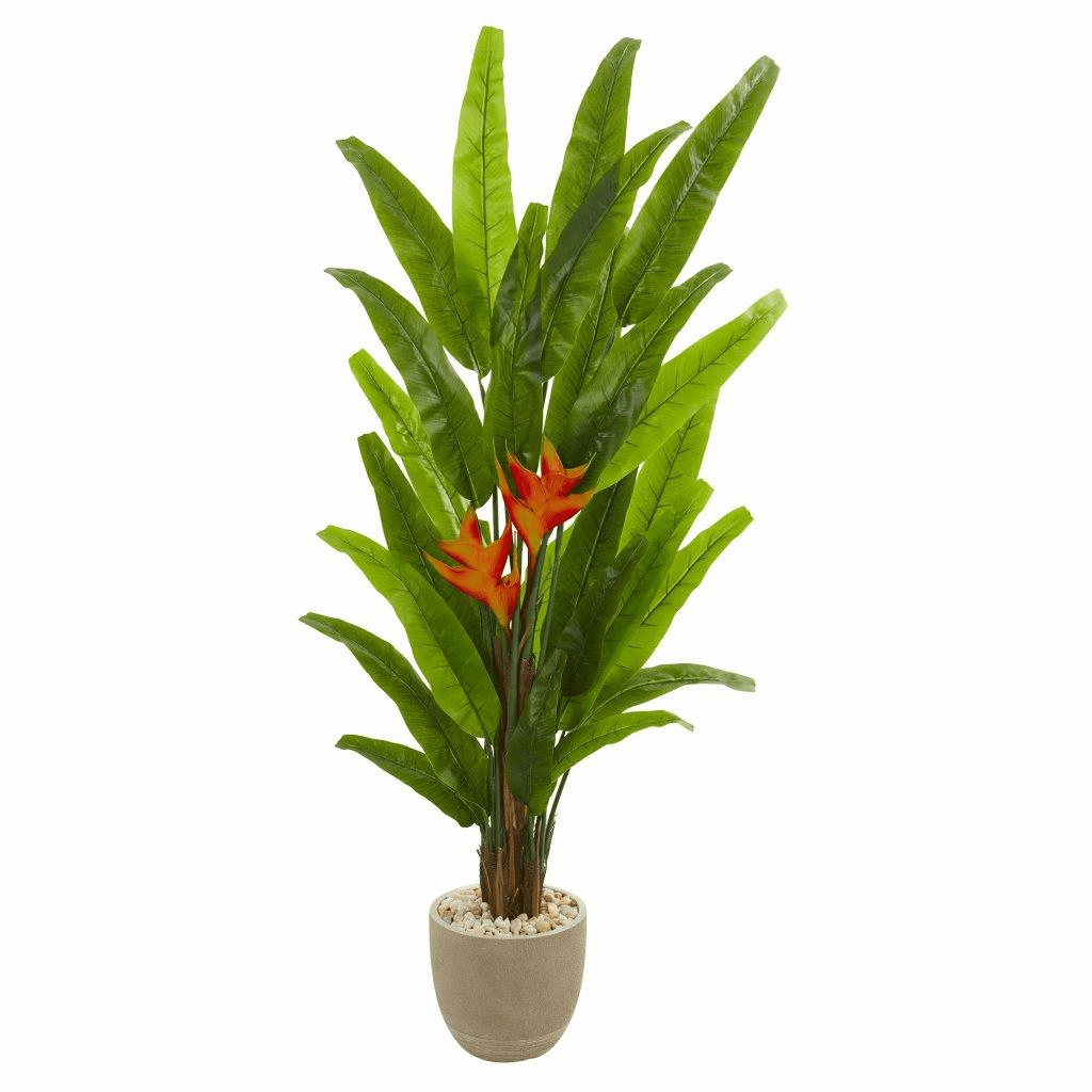 76� Heliconia Artificial Plant in Sand Stone Finish Planter